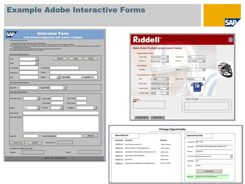 Example Adobe Interactive Forms