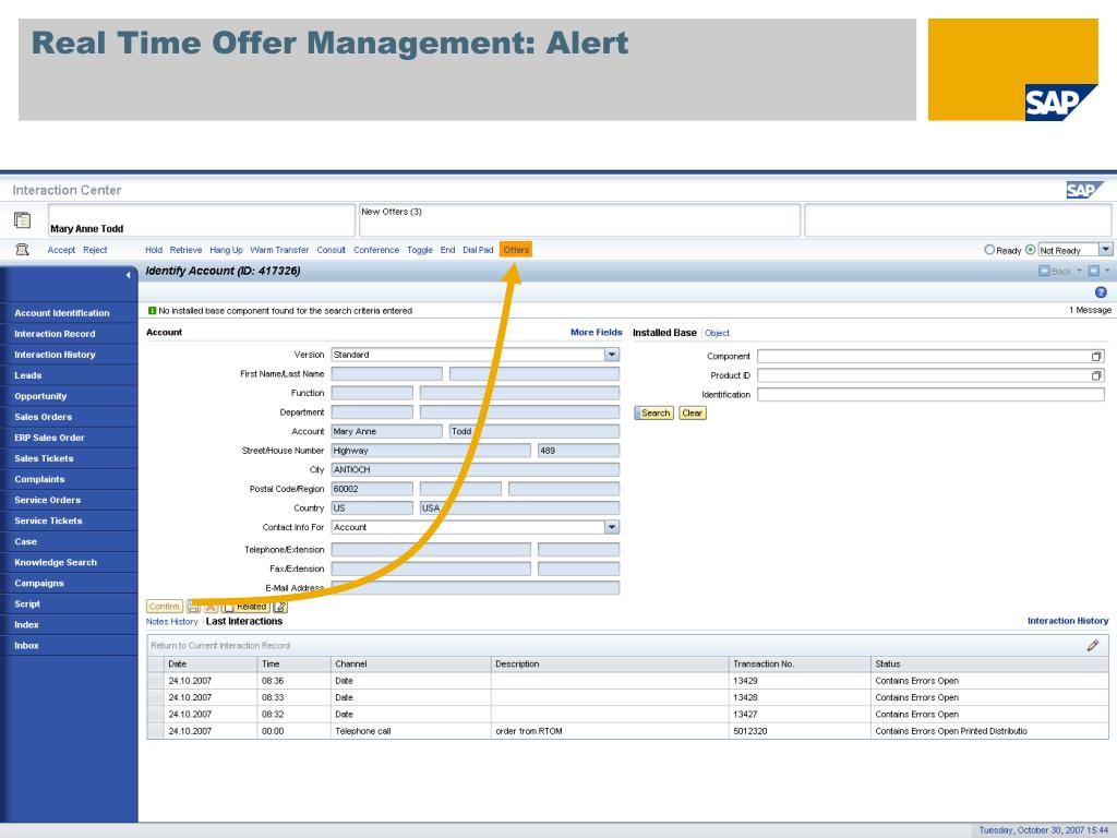 Real Time Offer Management: Alert