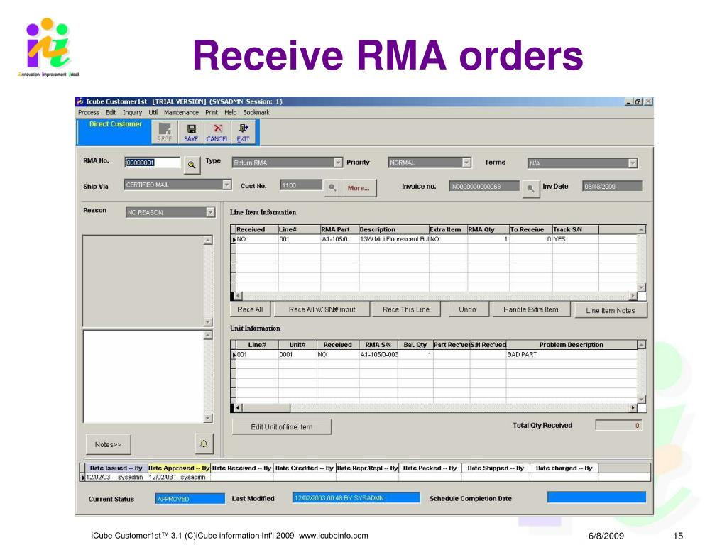 Receive RMA orders