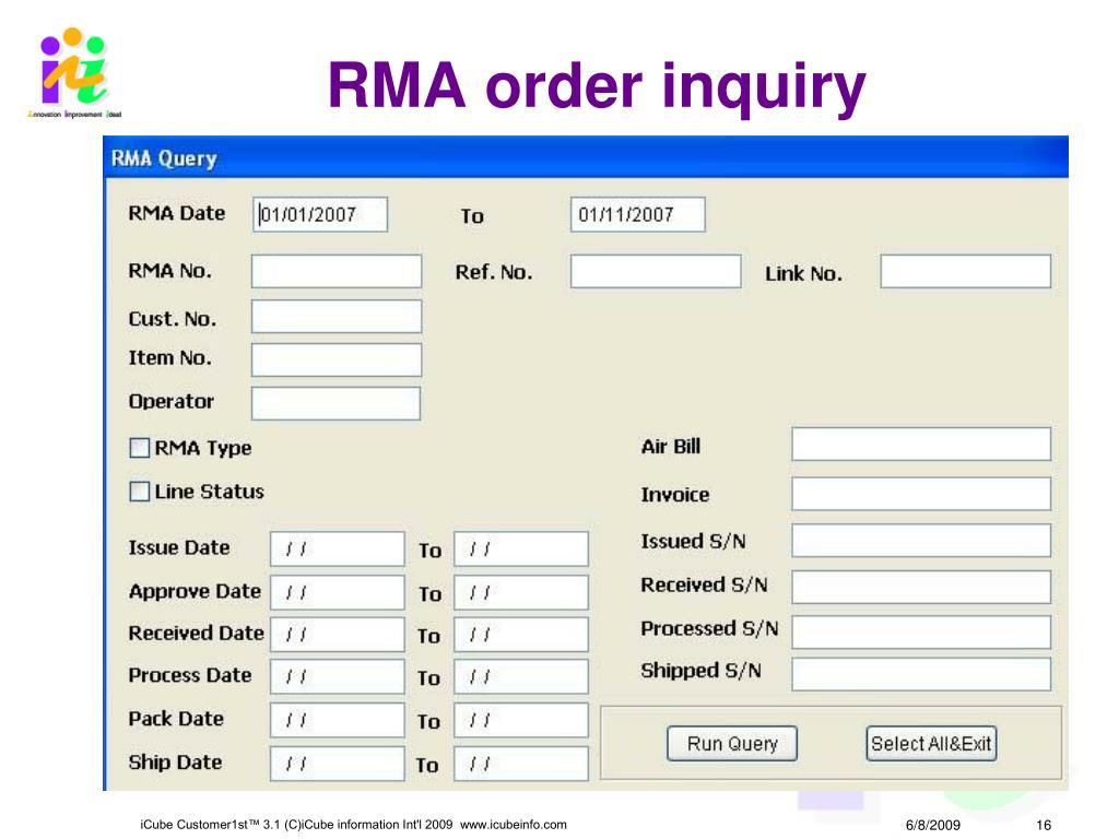 RMA order inquiry