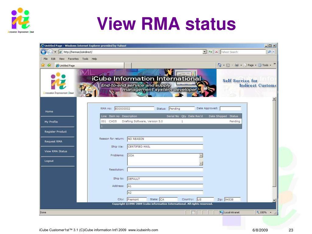 View RMA status