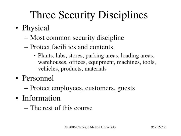 Three security disciplines