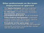 other professionals on the team biopsychosocial approach