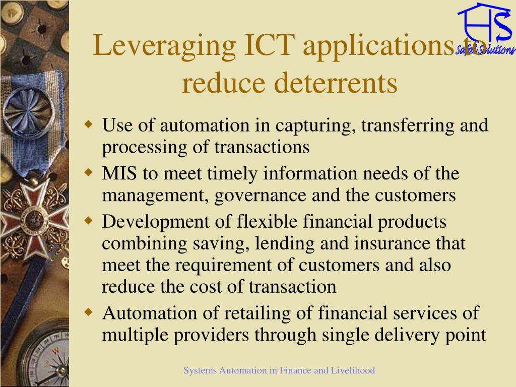 Leveraging ICT applications to reduce deterrents