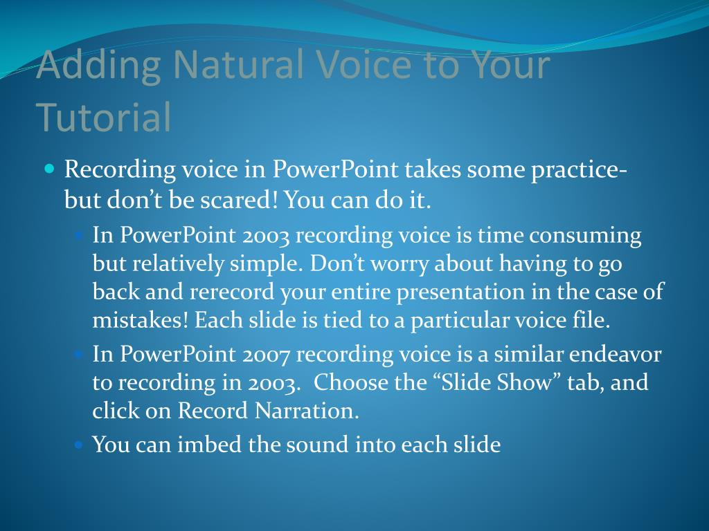 Adding Natural Voice to Your Tutorial
