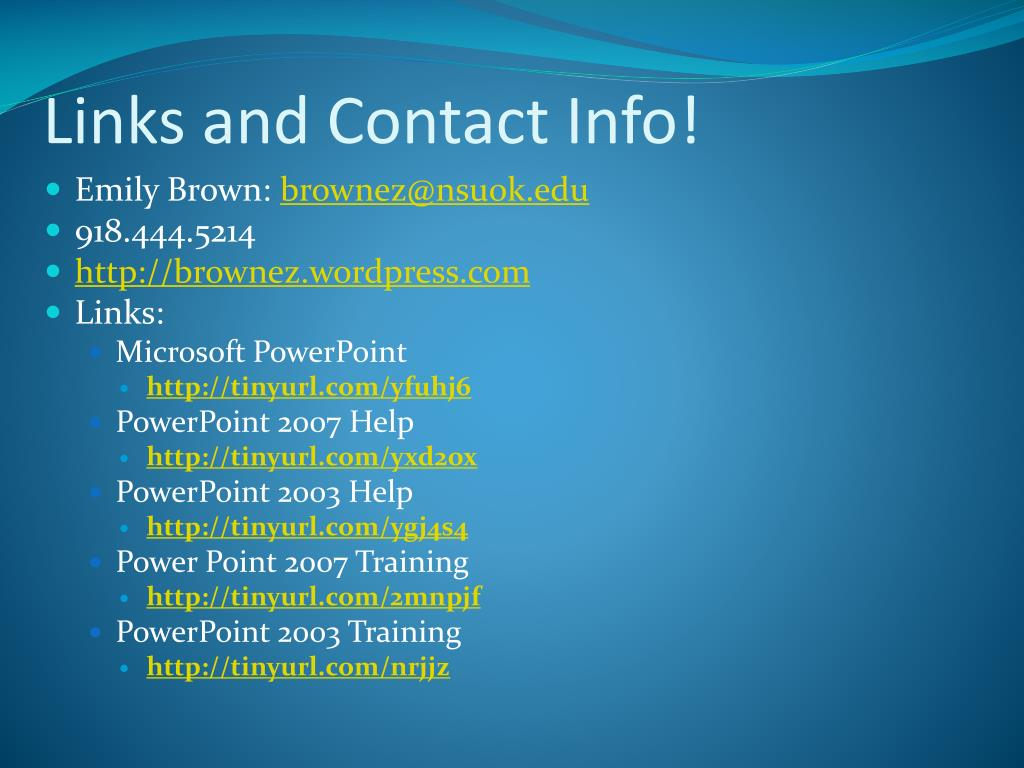 Links and Contact Info!