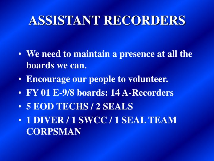 ASSISTANT RECORDERS