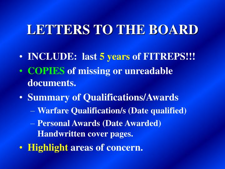 LETTERS TO THE BOARD
