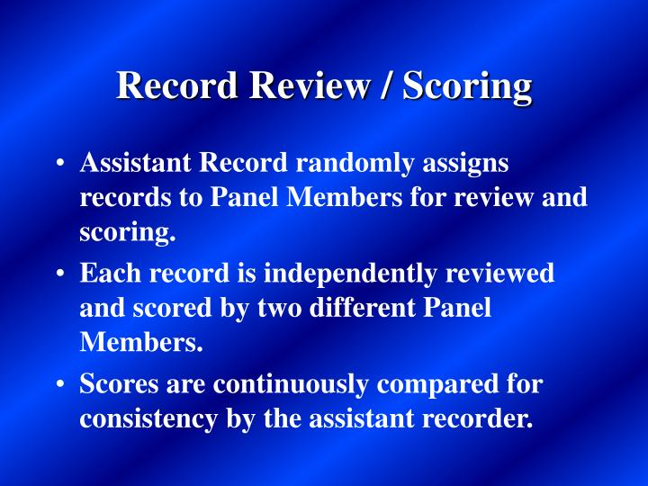 Record Review / Scoring