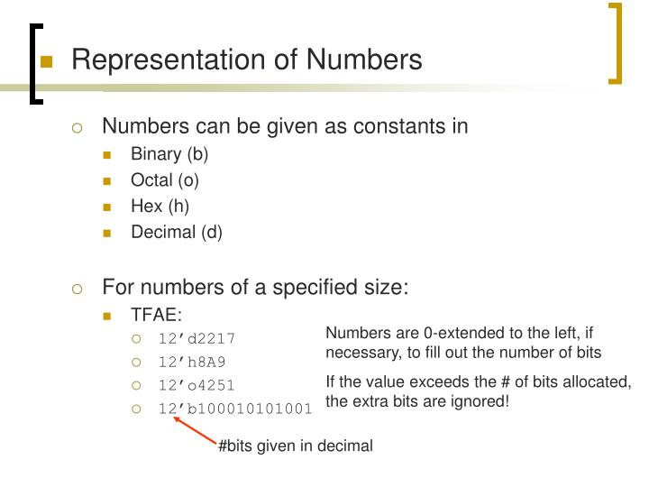Representation of Numbers