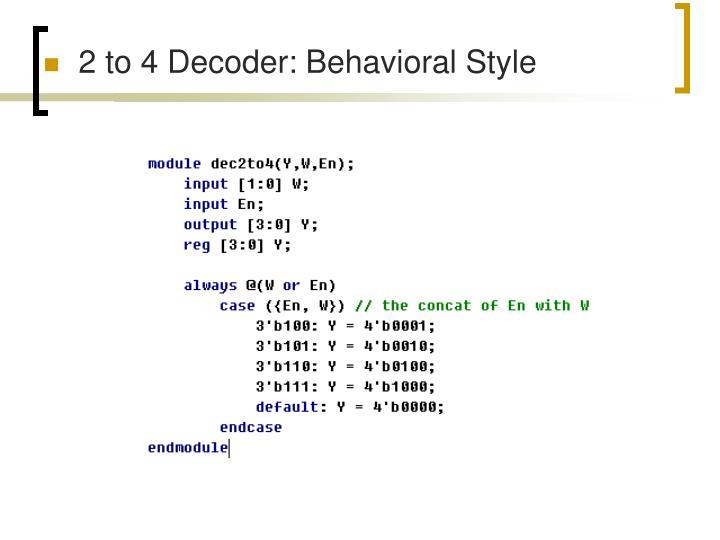 2 to 4 Decoder: Behavioral Style