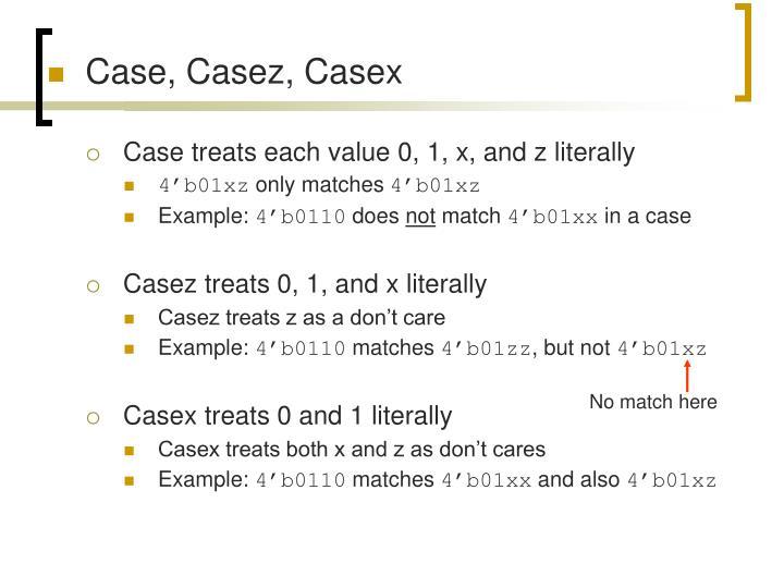 Case, Casez, Casex
