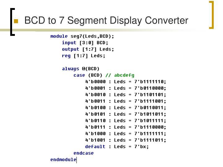 BCD to 7 Segment Display Converter