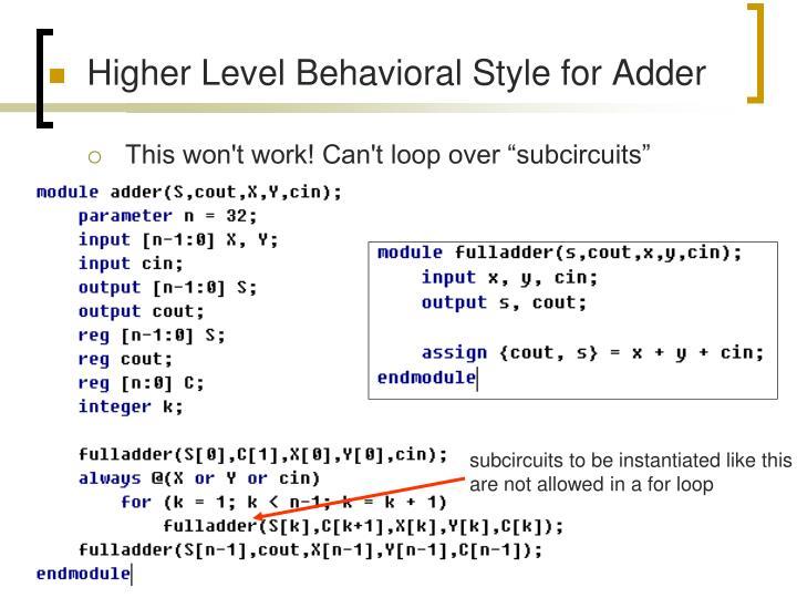 Higher Level Behavioral Style for Adder