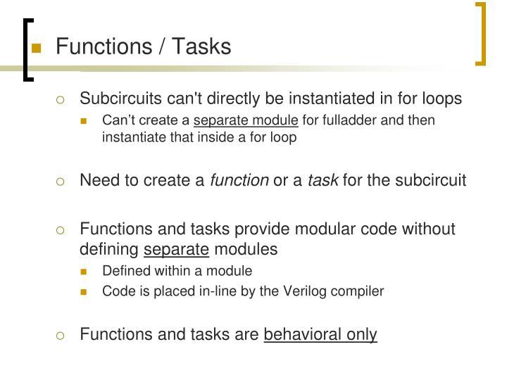 Functions / Tasks