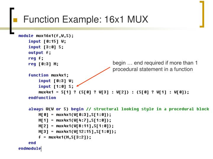 Function Example: 16x1 MUX
