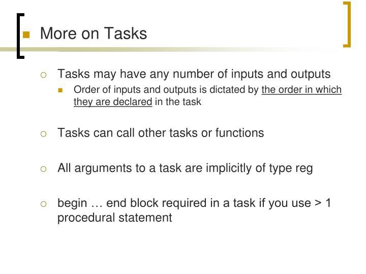 More on Tasks