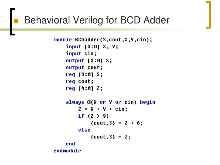 Behavioral Verilog for BCD Adder