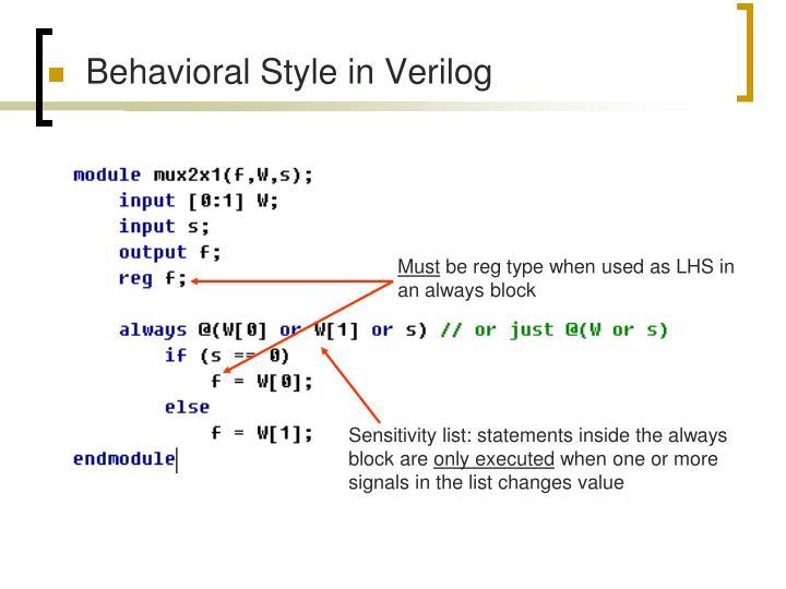 Behavioral Style in Verilog