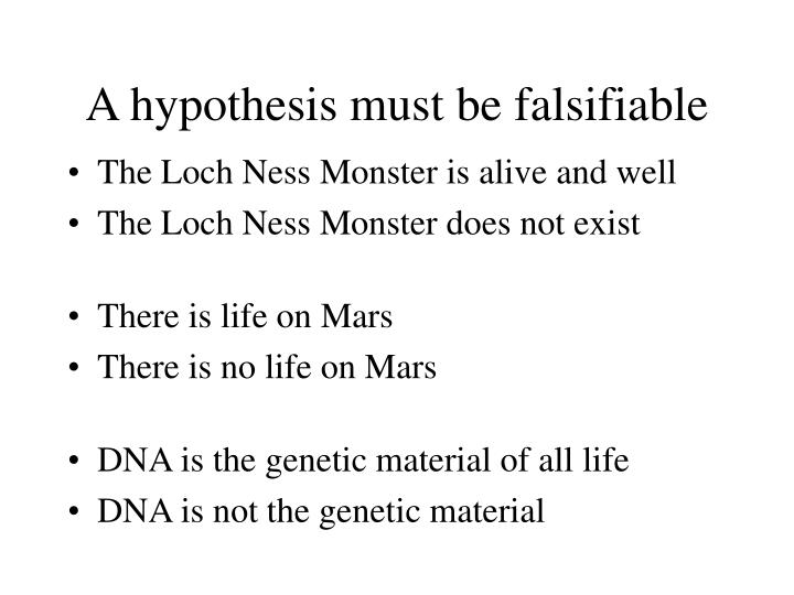 A hypothesis must be falsifiable