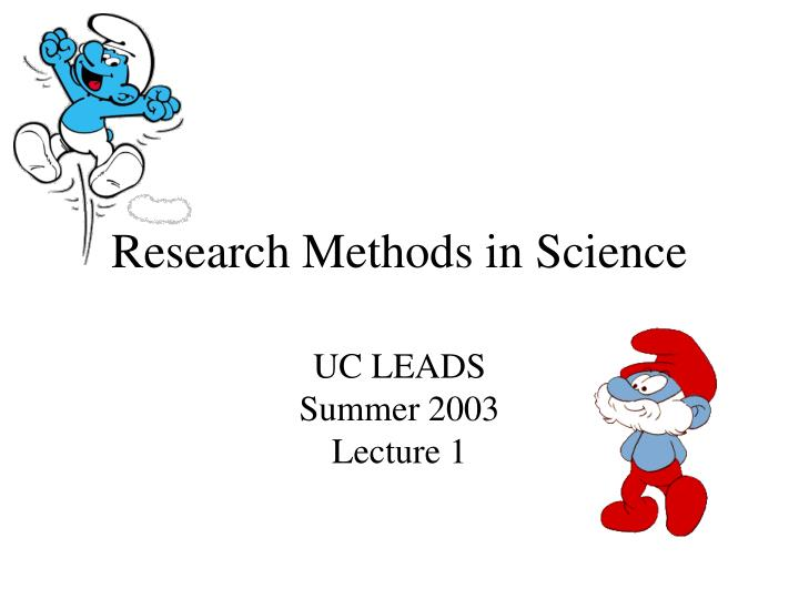 Research methods in science