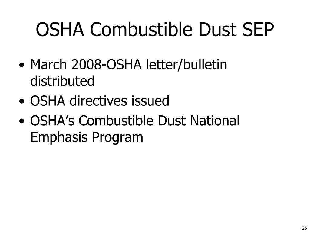 OSHA Combustible Dust SEP
