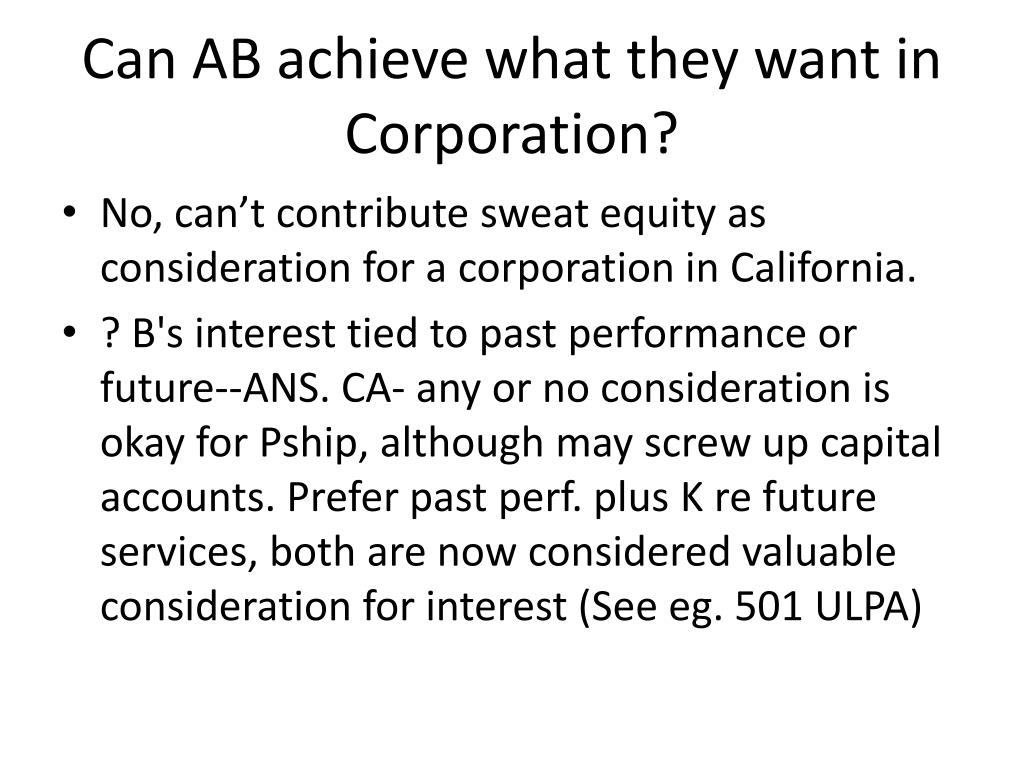 Can AB achieve what they want in Corporation?