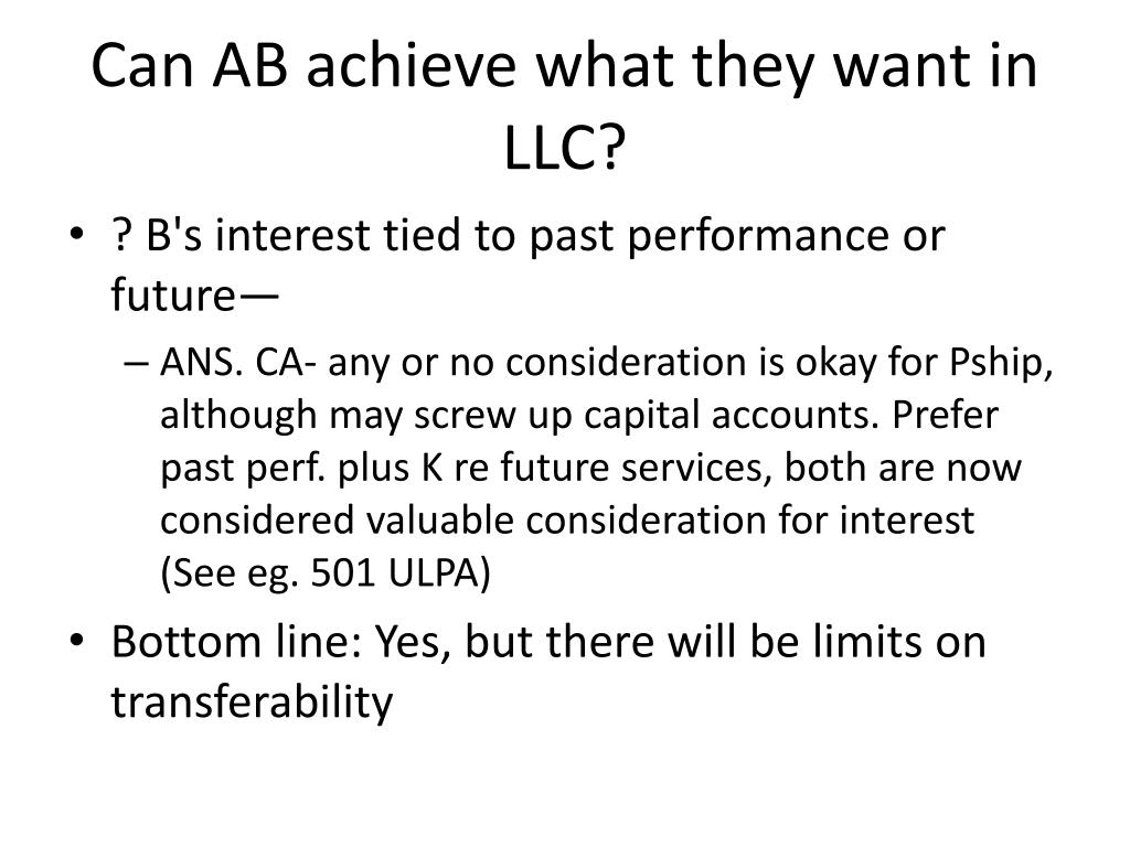 Can AB achieve what they want in LLC?