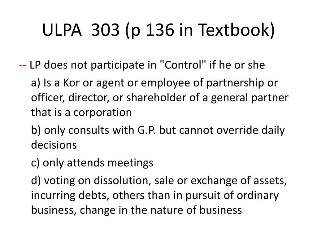 ULPA  303 (p 136 in Textbook)