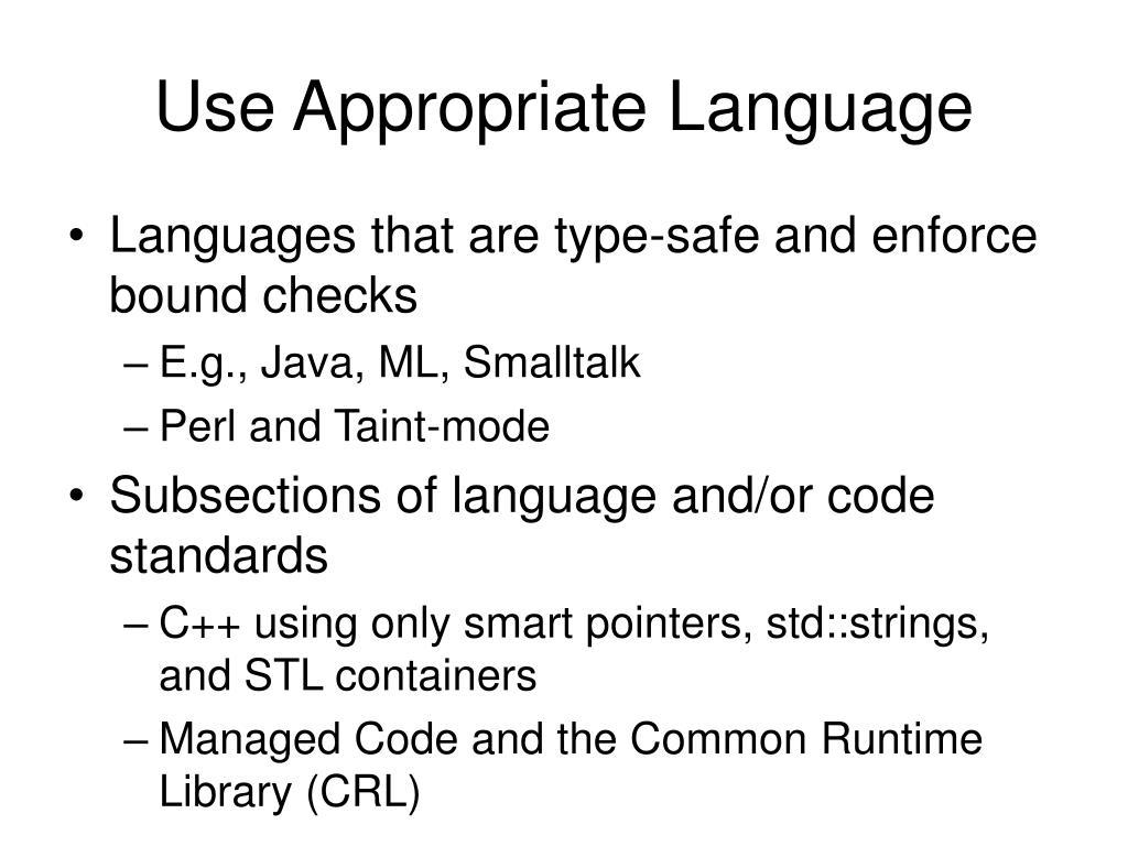 Use Appropriate Language