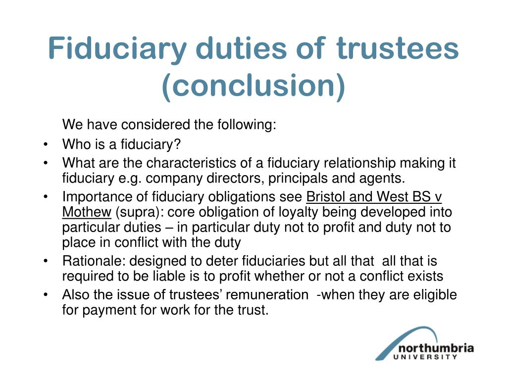 Fiduciary duties of trustees (conclusion)