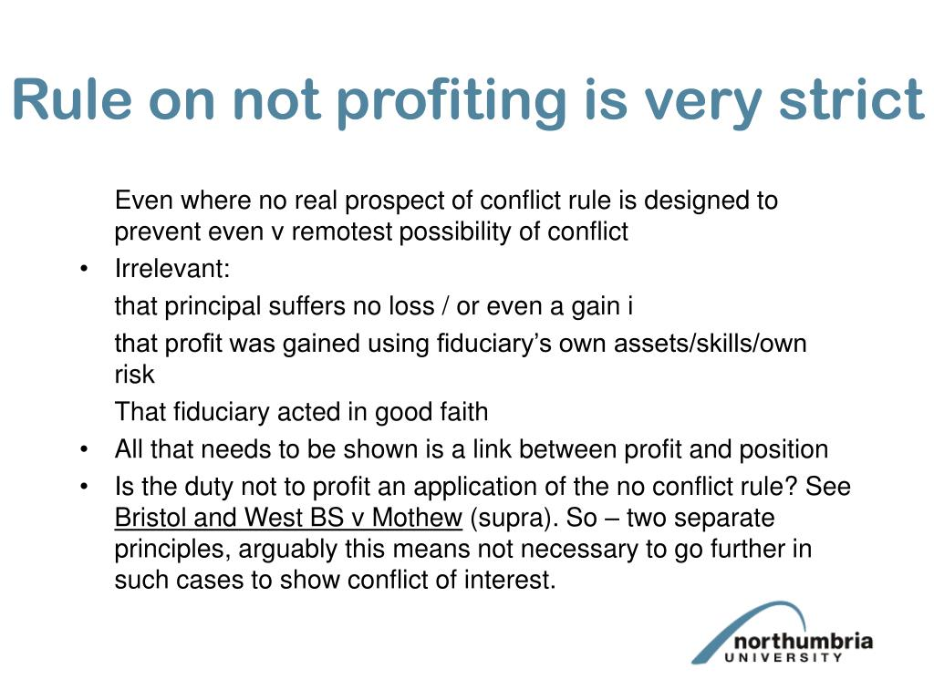 Rule on not profiting is very strict
