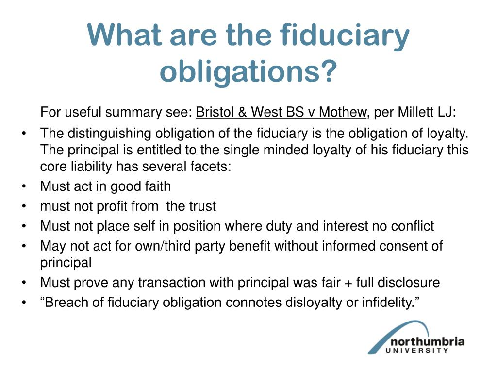 What are the fiduciary obligations?