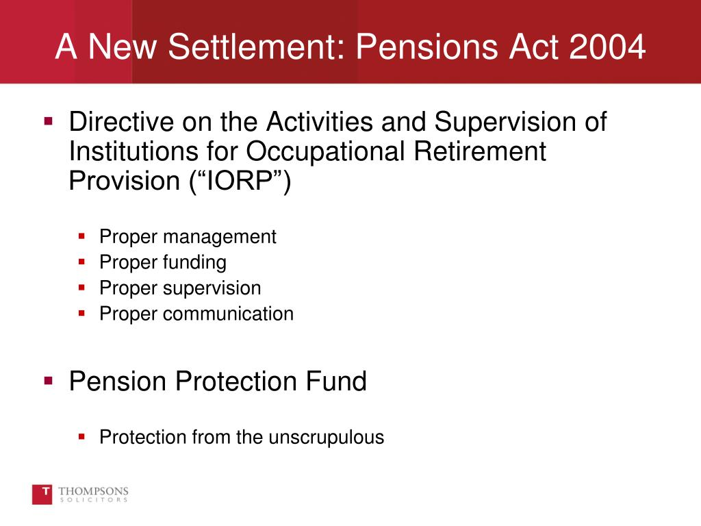 "Directive on the Activities and Supervision of Institutions for Occupational Retirement Provision (""IORP"")"