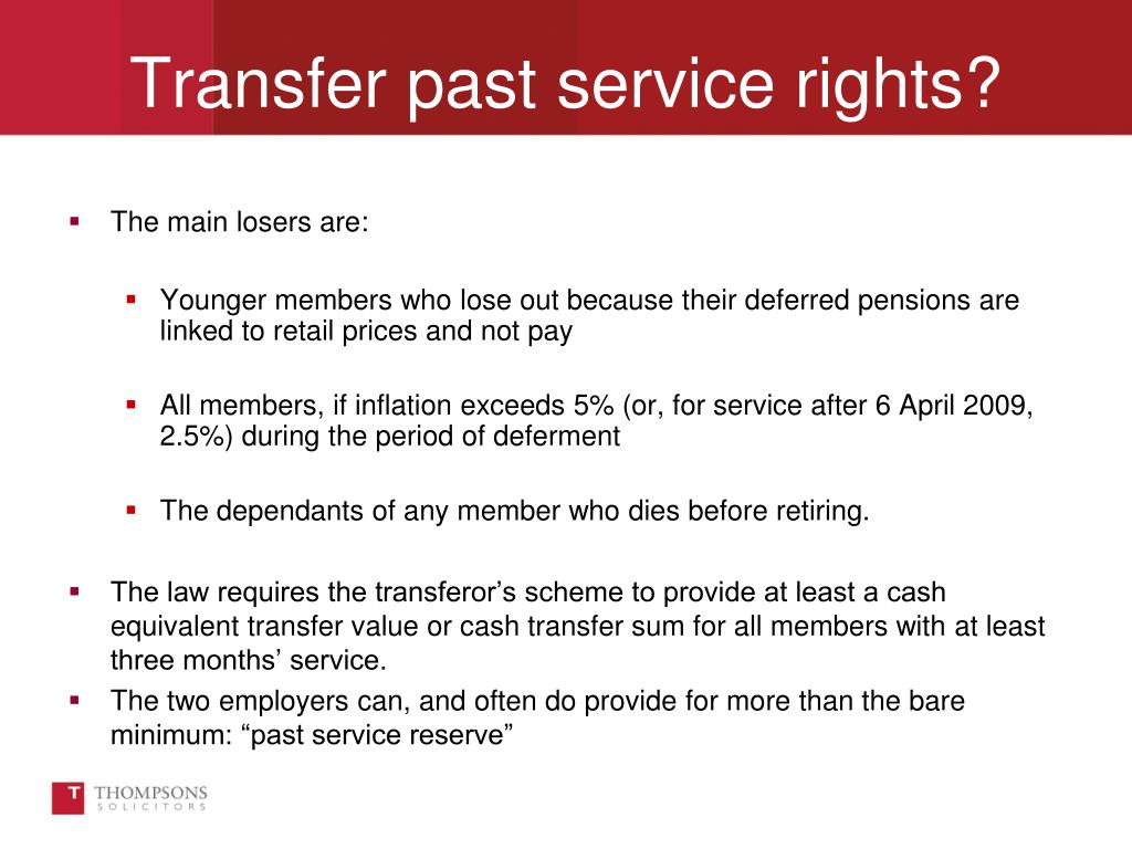 Transfer past service rights?