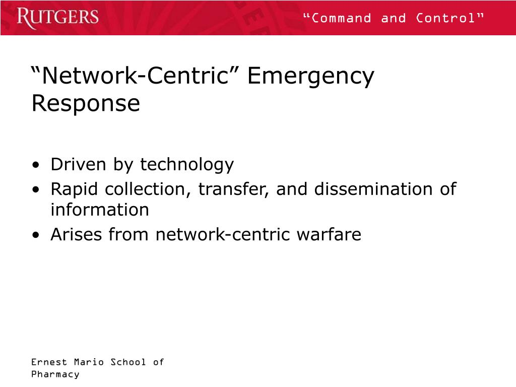 """Network-Centric"" Emergency Response"