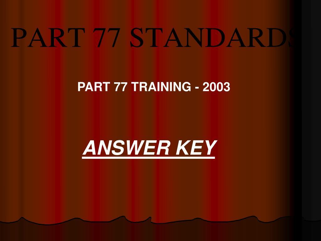 PART 77 TRAINING - 2003