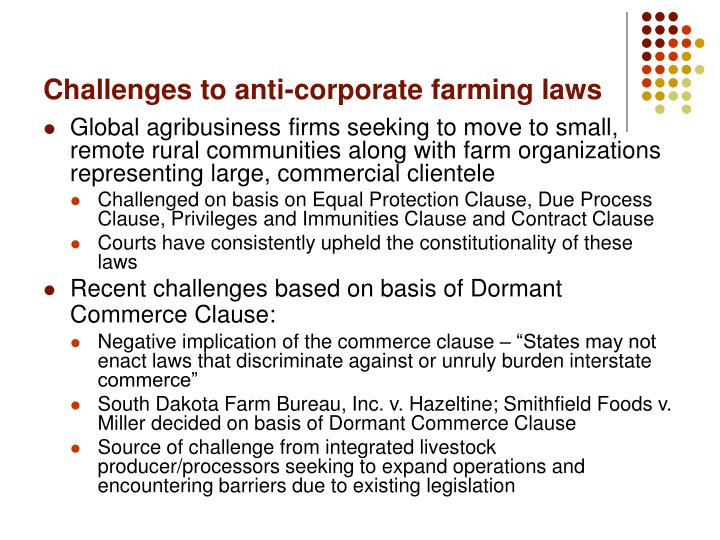 Challenges to anti corporate farming laws