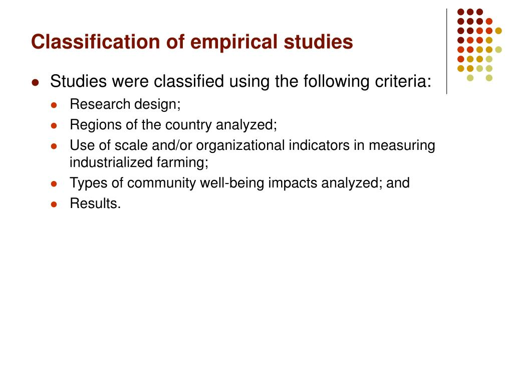Classification of empirical studies