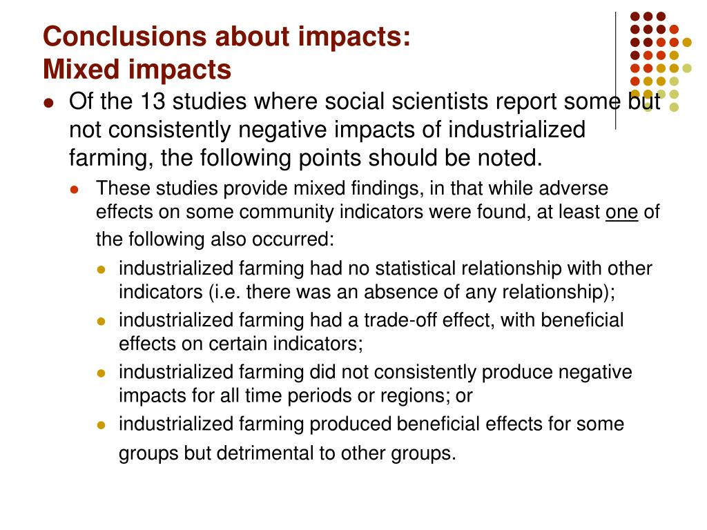 Conclusions about impacts: