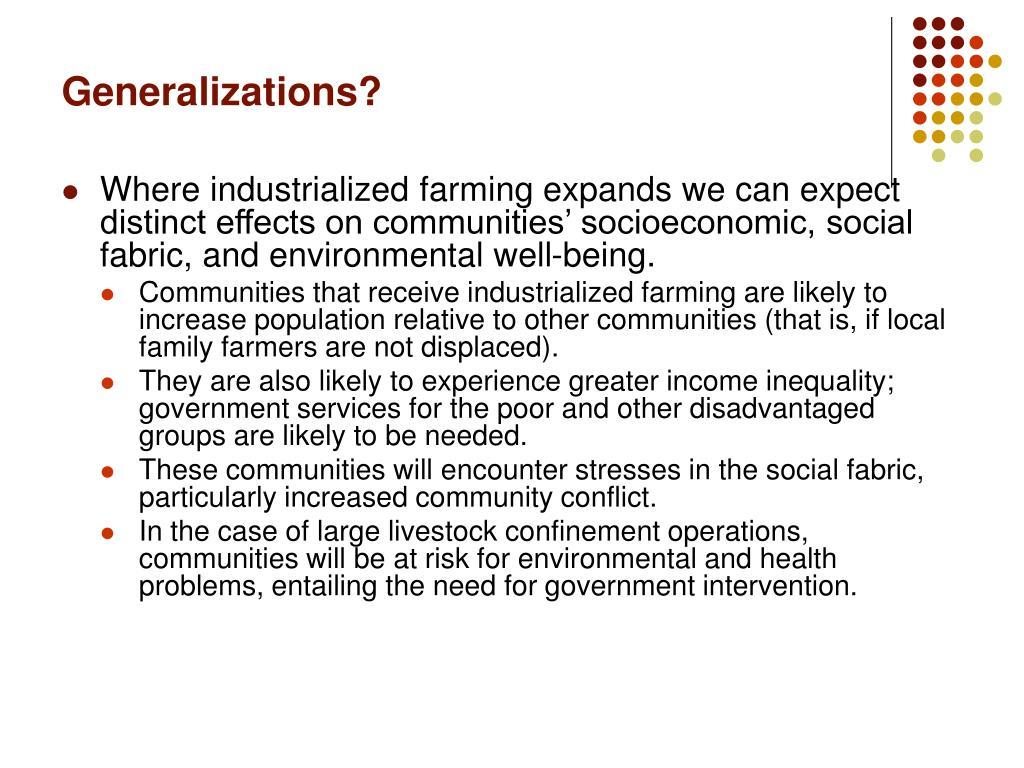 Generalizations?