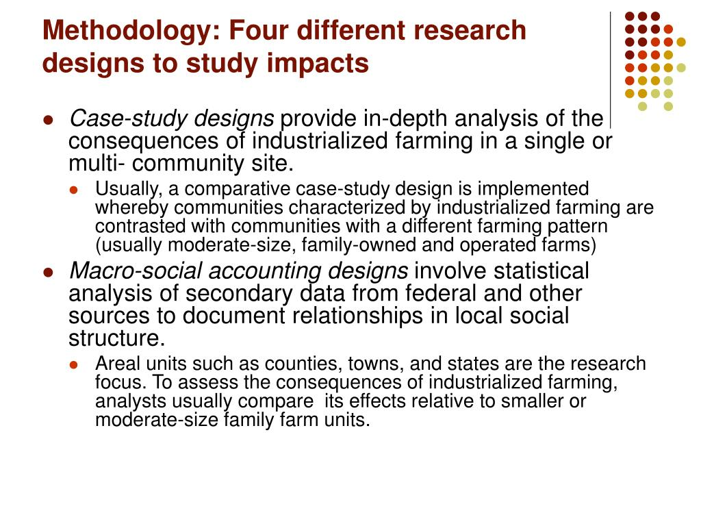 Methodology: Four different research designs to study impacts