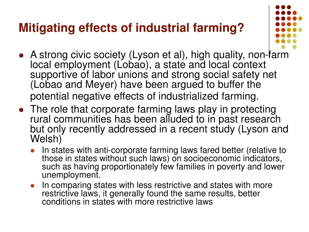Mitigating effects of industrial farming?