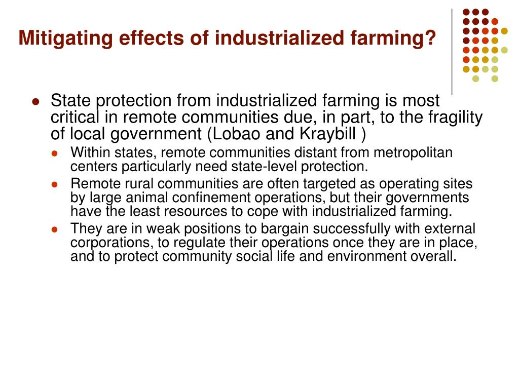 Mitigating effects of industrialized farming?