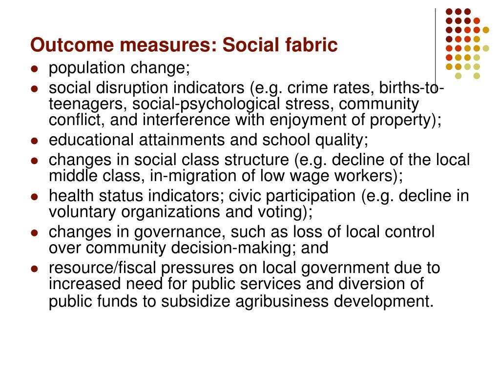 Outcome measures: Social fabric
