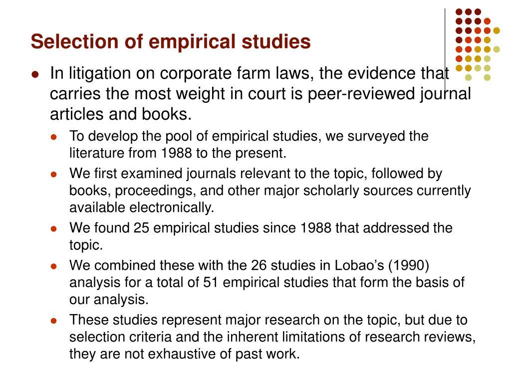 Selection of empirical studies