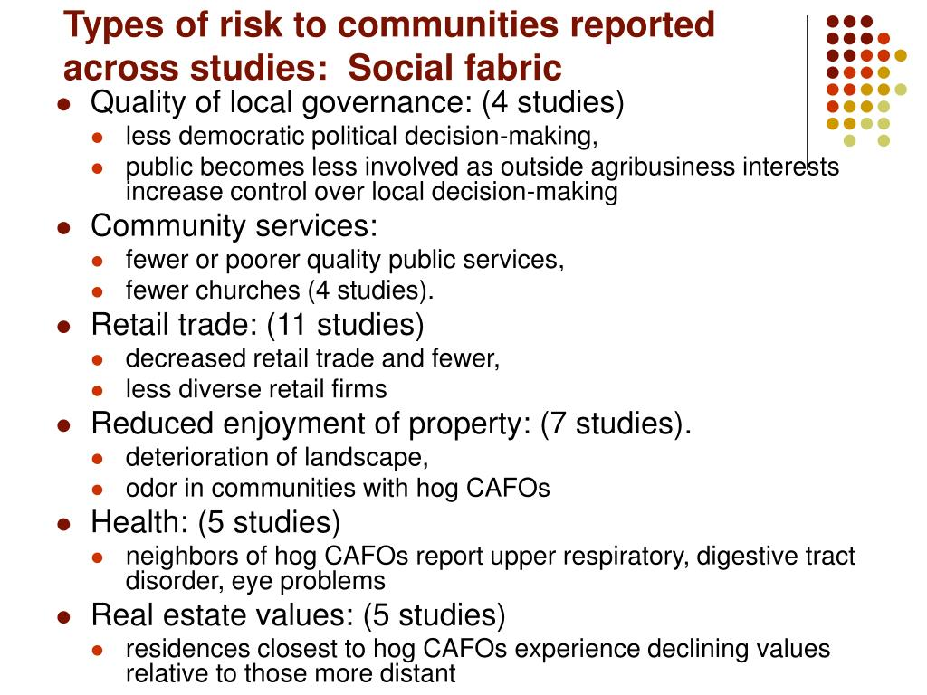 Types of risk to communities reported across studies:  Social fabric