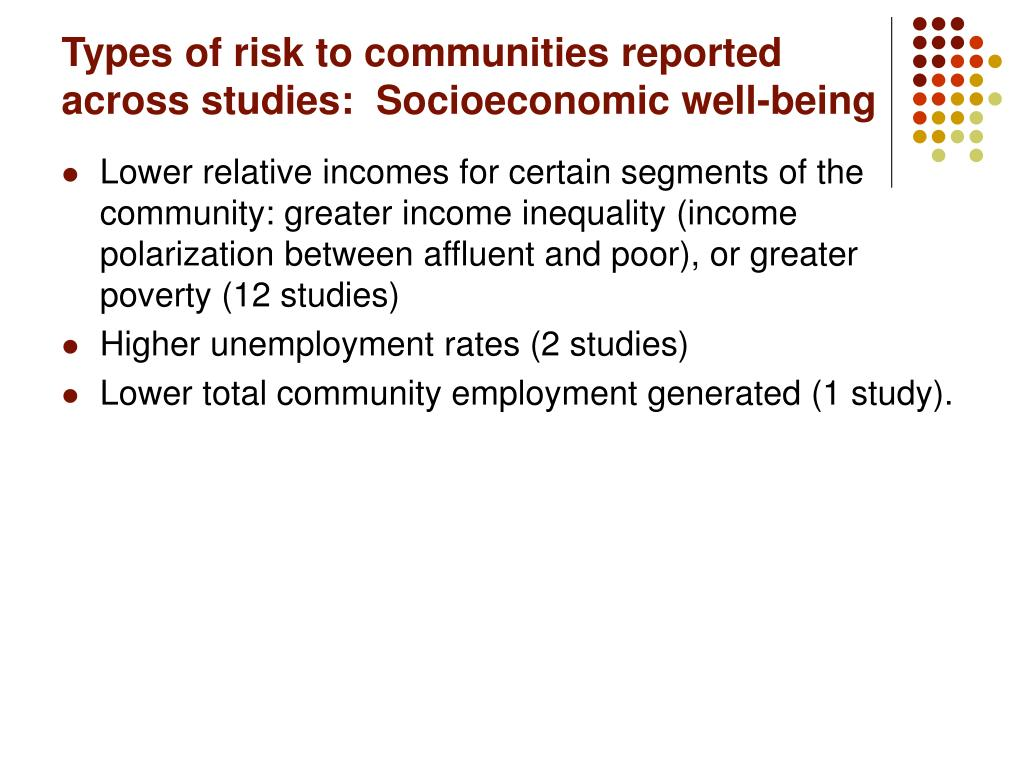 Types of risk to communities reported across studies:  Socioeconomic well-being