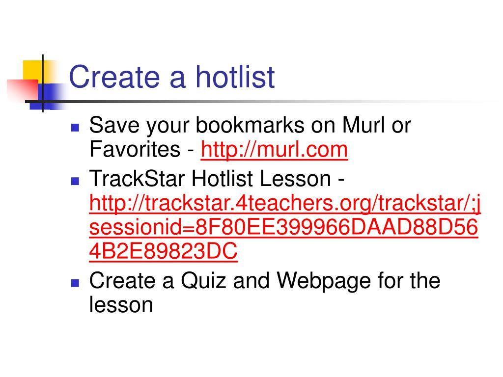 Create a hotlist