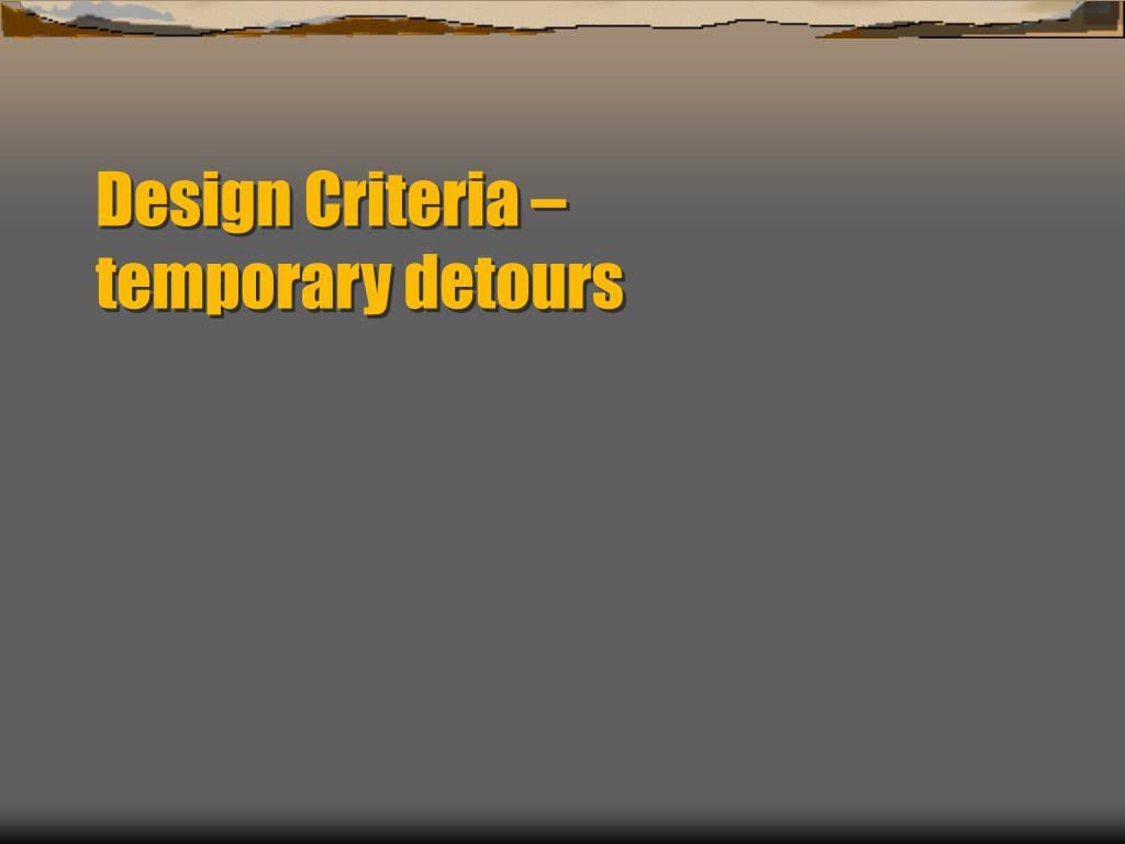 Design Criteria –